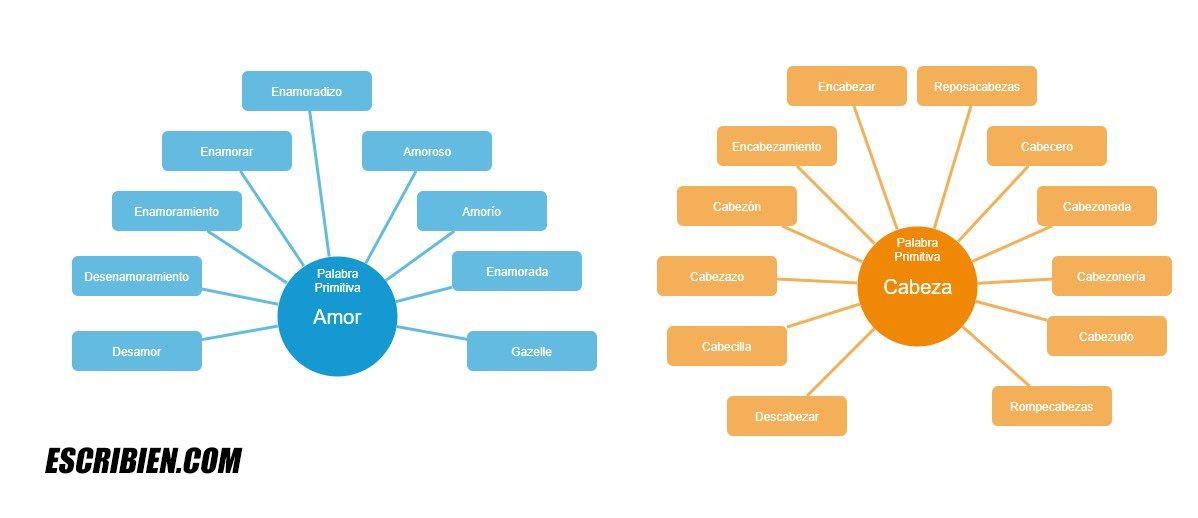 palabras primitivas y derivadas infografía